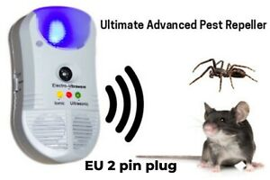 2 Pin EU Plug Ultrasonic Electromagnetic 5 in 1 Repeller Rat Mice Insect Rodent