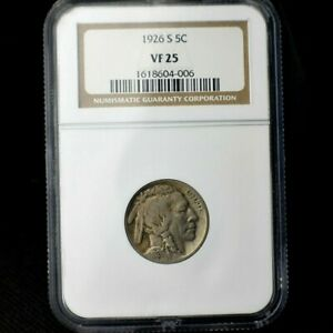 1926-S~Indian Head Buffalo Nickel~Graded VF25 by NGC~Combo Shipping~!