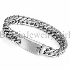 "8.7"" Stainless Steel Cuban Curb Chain Bangle Bracelet for Men Punk Biker*12MM"