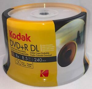 50-PK KODAK Brand 8X White Inkjet Hub Printable DVD+R Dual Layer DL Disc 8.5GB