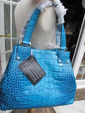 unique new mock croc 100% leather turquoise COCCINELLE BAG TOTE HANDBAG bnwt