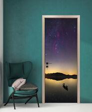 Tranquil Lake with Boat Self-Adhesive Bedroom Door Murals PVC Door Poster Decal