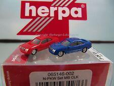 N - Herpa Spur N 065146-002 PKW Set Mercedes Benz CLK in blau & rot Lizenz Prod.