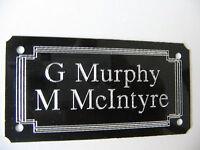 *Door Name plate 1mm Metal Aluminuim High Gloss Black 85x45mm Screw Or Stick On