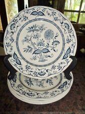 "Plates 10"" Dinner Set 4 Royal China Cavalier Ironstone Blue Onion Floral pattern"