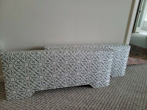 "2 35"" UPHOLSTERED Cornice Boards Window Valance  Customize SAGE AND WHITE"