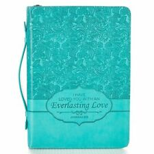 "Turquoise ""Everlasting Love"" Bible / Book Cover - Jeremiah 31:3 Large size"