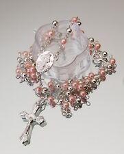 12×Baptism Pearl Rosary Pink SliverParty Favors Recuerdos de Bautizo Quinceanera