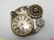 Steampunk broche insignia con Pin Bronce/Plata Rueda Dentada Engranaje Reloj Reloj Reloj