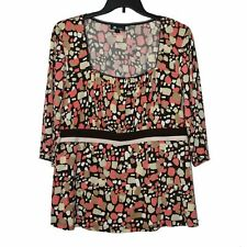 AB Studio Women's Pullover Top 1X Brown Coral Pink Sepia Beige White Pattern
