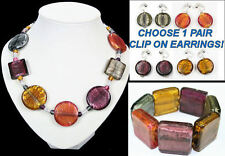 SUNSET,AMBER,SMOKE,PURPLE MULTI murano GLASS NECKLACE, BRACELET clip on EARRINGS