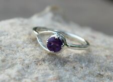 925 Sterling Silver Natural Amethyst Prong Set February Birthstone Round Ring