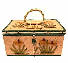 Antique 1920s Japan Sewing Basket Rare Box Satin Lined 8 inches Long