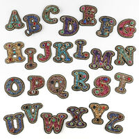 A-Z Letter Rhinestone Patch Sew Iron-on Patches Badge Fabric Applique Sticker