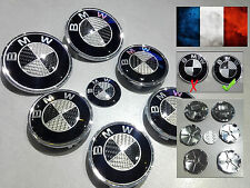 7pcs Logo BMW carbone noir Capot - coffre 82mm volant 45mm jantes 68mm E60 E36..