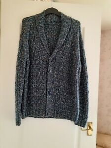 MENS HAND KNITTED COLLARED CARDIGAN SIZE 42-44 BLUE