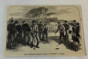 1877 magazine engraving ~ PUTTING A BALL ~ Scottish Game Of Golf