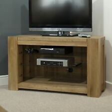 Pemberton solid oak living room furniture corner television cabinet stand unit