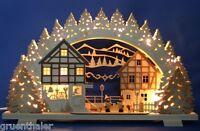 3D-Schwibbogen 52x32cm Erzgebirge Holzwurm Winterkinder NEU Lichterbogen