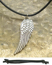 Flügel Kette Engel Leder Damen Halskette neu Schutzengel Lederkette Engelflügel