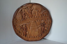 Wood Carving Wall Sculpture Workers in the Field Art Farming Scene African Tiki