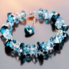 Women's S925 Silver Made With Swarovski Crystals Heart of the Ocean Bracelet T18