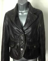 """WOMENS MING BROWN LEATHER JACKET COAT 38"""" chest EU XL"""