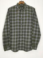 Banana Republic Luxe Flannel Slim Shirt Size Medium Fern Green Check Lumberjack