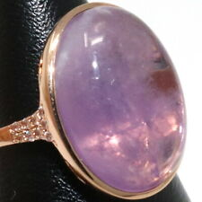 Large Oval Purple Amethyst Solitaire Ring Women Jewelry Wedding Rose Gold Plated