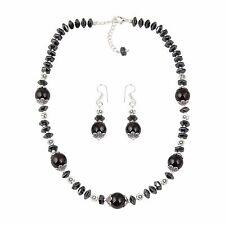Garnet, Hematite Beaded Necklace and Earrings Trendy Brass Jewelry Set