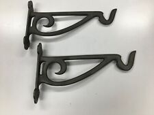 Pair (two) rustic metal cast iron wall post mount hooks for hanging baskets misc