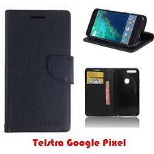 Google Pixel 1 Mooncase Stand PU Leather TPU In Black Wallet Case Cover + SP