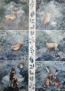 Rice Paper for Decoupage Scrapbook Craft Winter Animals Snow 16