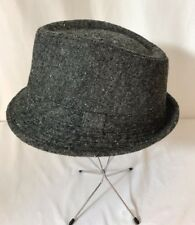 Vtg Mens Womens Hat Fedora Player Trilby Tweed Wool Blend Med / Large Gray Black