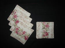"ROSE ROSEBUD FLOWER COASTER SET OF 5  5"" x 5"" HANDMADE FABRIC COASTER SET"