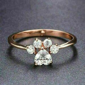 2Ct Heart Shape VVS1/D Diamond Dog Paw Women's Wedding Ring 14K Rose Gold Finis