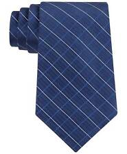 $115 CALVIN KLEIN Mens BLUE SLIM PLAID NECKTIE DRESS CASUAL SILK SKINNY TIE 59X3