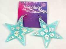 New Glow in the Dark Blue Star Earrings with Glitter Skulls #E1210