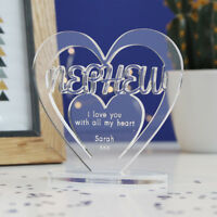 Personalised Heart with Message Ornament Keepsake Nephew Birthday Gift