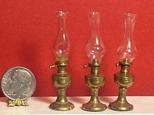 3 Vintage Matching Hurricane Lamp Brass 1:12 Dollhouse Miniature Lighting