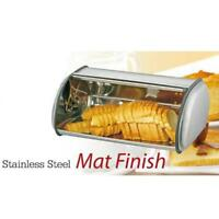 Roll Top Bread Box Kitchen Storage Stainless Steel Metal Food Container Rolltop