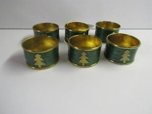Set Of 6 Kemp & Beatley Christmas Enameled Napkin Rings With Tree