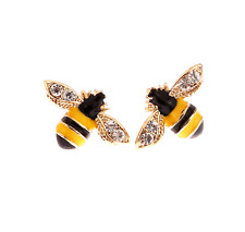 Betsey Johnson Gold Plated Yellow Black Striped Bee Mini Stud Earrings