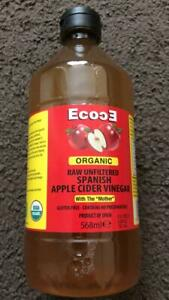 ORGANIC RAW UNFILTERED APPLE CIDER VINEGAR (WITH THE MOTHER) BOTTLE OF 568ml New
