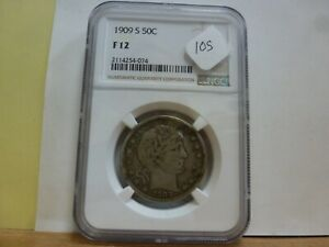 1909-S NGC F-12 Silver Barber Half Dollar #074