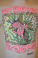 vtg 80s 90s HAWAII Diamond Dust NEON Pink RETRO Tropical HAWAIIAN Fish M T-SHIRT