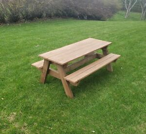 Stained Brown Cedar Outdoor Table, Kids Picnic Table, Garden ,Beaches, Backyards