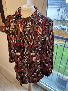 VINTAGE 70's RED & BROWN GEOMETRIC CHECK KNIT BLOUSE SHIRT UK 10 SMALL