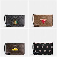 New Coach F57711 F57710 NYC Small Wristlet Signature NWT