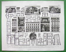 APARTMENT Buildings Villas Plans Elevations Views - Original Print Engraving
